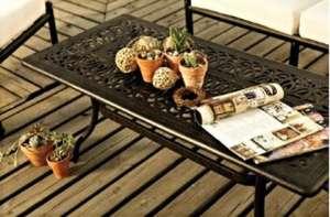 Bahçe mobilyası oturma grubu CAST ALUMINUM SPR AMBAR Pier 18 orta sehpa çiçek günbatımı ahşap deck çiçek saksı