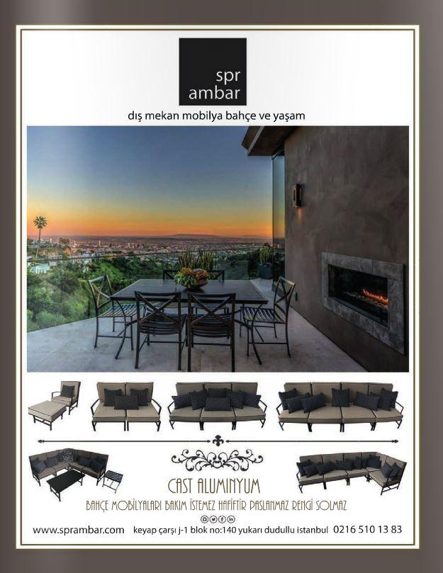 MAG Nisan 2016 SPR AMBAR Bahçe mobilyaları modüler modern manhattan yemek masası kolsuz yemek sandalyesi tekli koltuk puf ikili kanepe üçlü kanepe dörtlü kanepe oturma grubu orta sehpa yan sehpa gün batımı şehir cast aluminyum