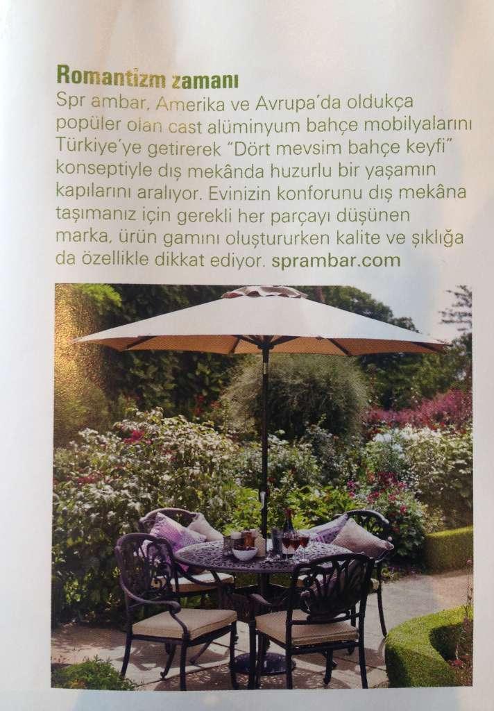 SPR AMBAR_Maison Française Outdoor_Nisan 2016_advertorial Maison Française Outdoor Nisan 2016 SPR AMBAR Bahçe mobilyaları doğa spring yuvarlak yemek masası spring kollu yemek sandalyesi şemsiye