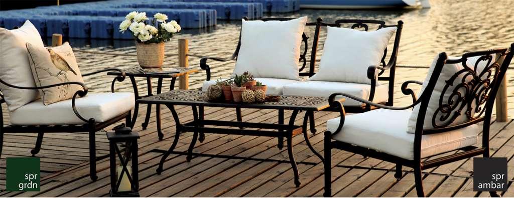 Klasik Bahçe Mobilyaları cast aluminyum SPR AMBAR_Pier18_İkili Tekli Kanepe_orta sehpa_yan sehpa_outdoor Pier 18 tekli koltuk ikili kanepe çiçek