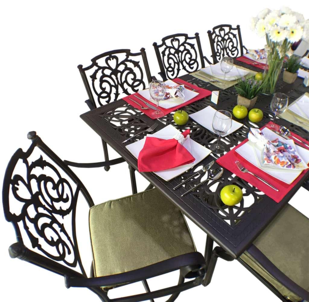 Klasik Bahçe Mobilyaları Cast aluminyum SPR AMBAR_Pier18_dikdörtgen yemek masası seti Pier 18 SPR AMBAR yemek masası elma papatya yapay çiçek sofra sofra tasarımı yeşil pembe pier_18_kollu_yemek_sandalyesi pier_18_döner_yemek_sandalyesi