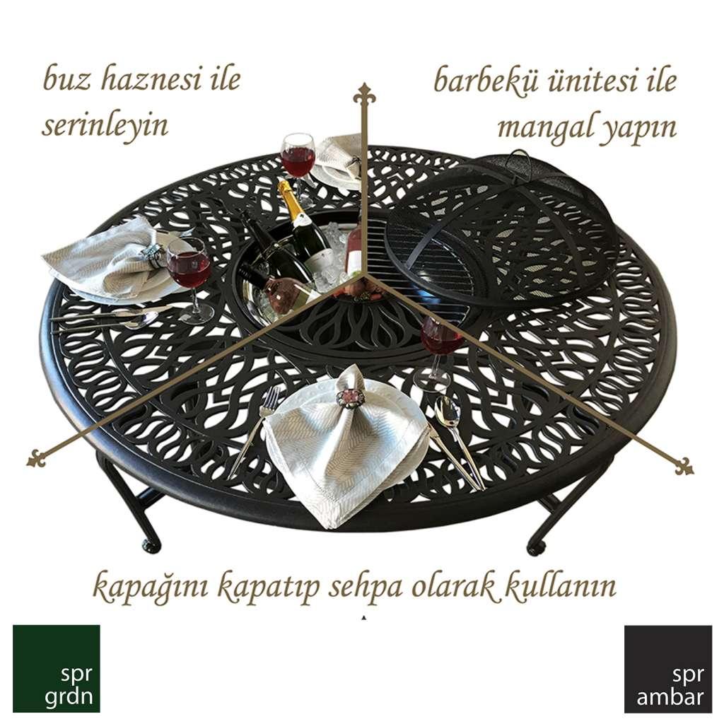 Klasik Bahçe Mobilyaları SPR AMBAR_Pier18_mangallı masa buz haznesi barbekü ünitesi mangal sehpa masa mangallı masa kapak cast aluminyum