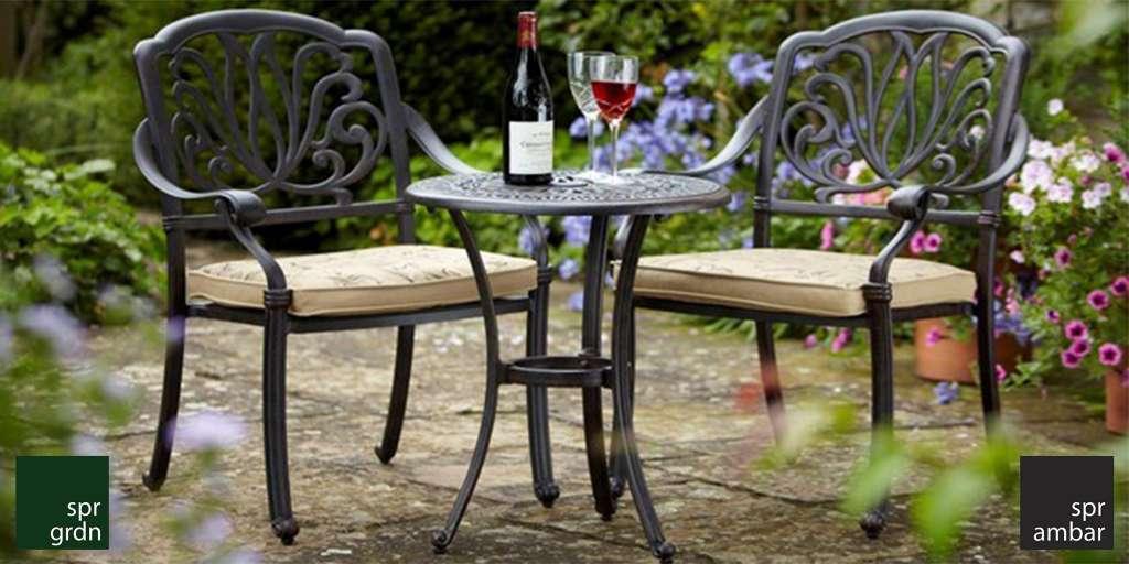 zamansız bahçe mobilyaları SPR AMBAR Spring Bistro Masa New Port Bistro Masa Bistro Sandalye Cast Aluminyum bahçe mobilyası