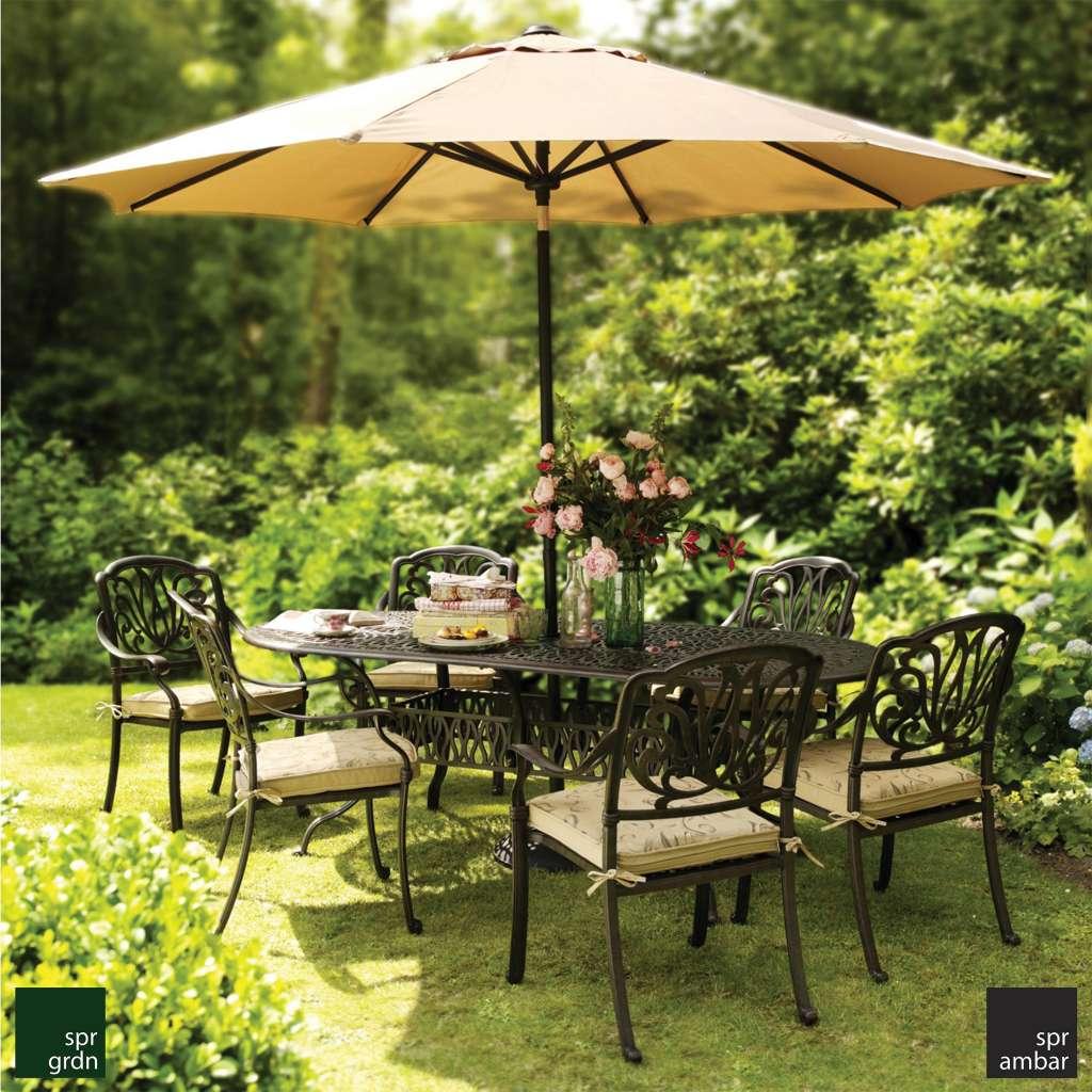 zamansız bahçe mobilyaları SPR AMBAR Cast aluminyum SPRING Oval yemek masası kollu yemek sandalyesi yemek grubu