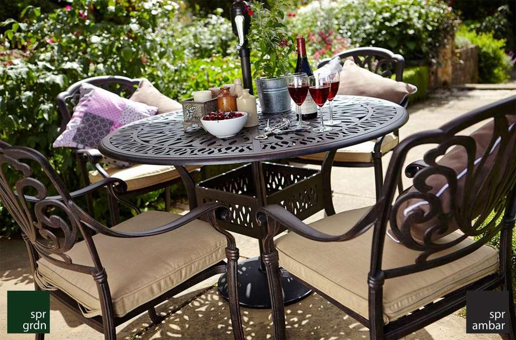 zamansız bahçe mobilyaları SPR AMBAR SPRING Yuvarlak Yemek Masası Kollu Yemek Sandalyesi Şemsiye deliği Yemek Grubu
