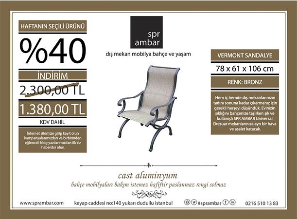 HAFTANIN ÜRÜNÜ SPR AMBAR bahçe mobilyaları Vermont Sling sandalye bahçe mobilyası dış mekan sandalye cast aluminyum kumaş paslanmaz haftanın ürünü