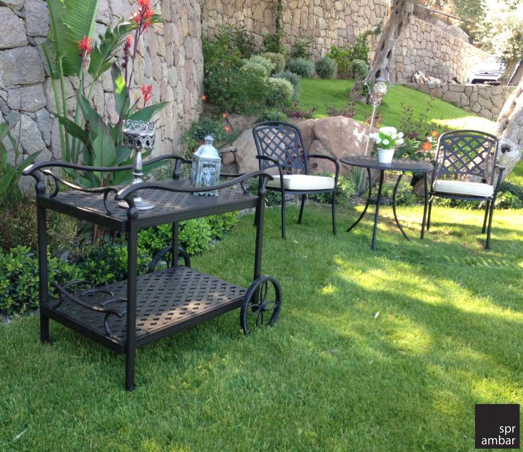 HAFTANIN ÜRÜNÜ UNIVERSAL SERVIS MASASI spr ambar sprambar bahçe mobilyası mobilyaları cast aluminyum paslanmaz tepsi modern şık zarif klasik bronz servis indirim